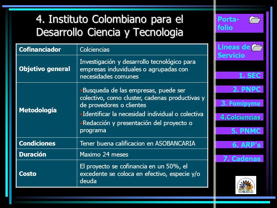 4. Instituto Colombiano para el Desarrollo Ciencia y Tecnologia