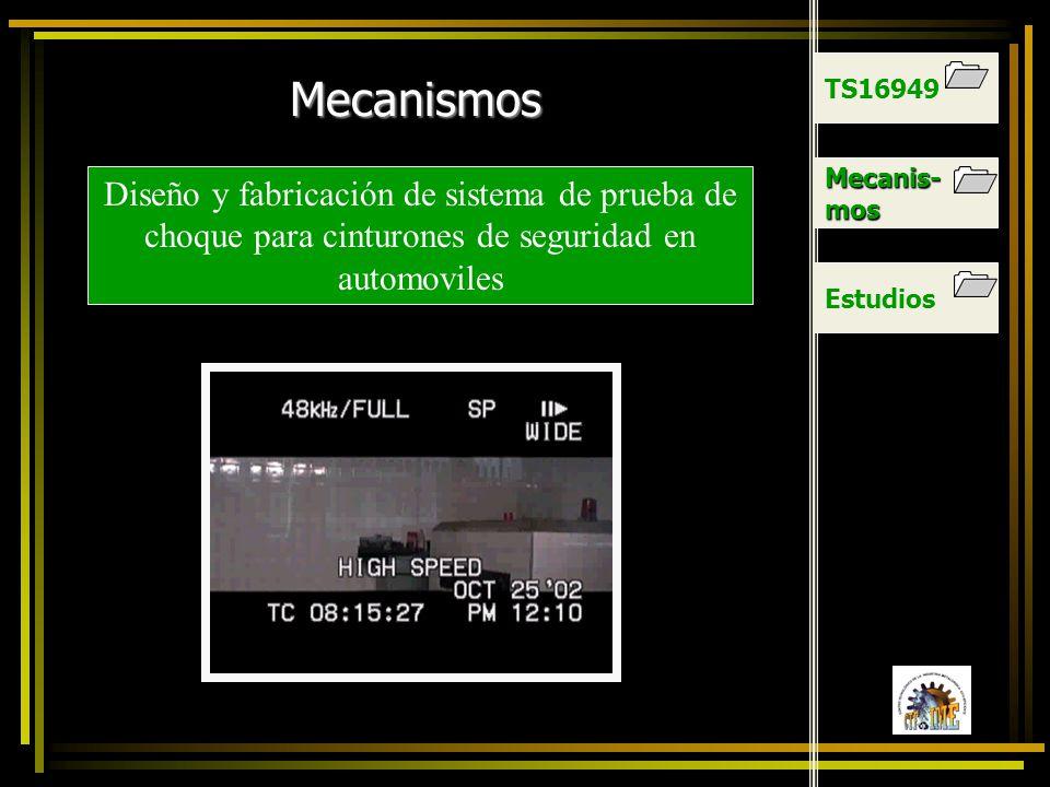 TS16949 Mecanismos. Mecanis-mos. Diseño y fabricación de sistema de prueba de choque para cinturones de seguridad en automoviles.