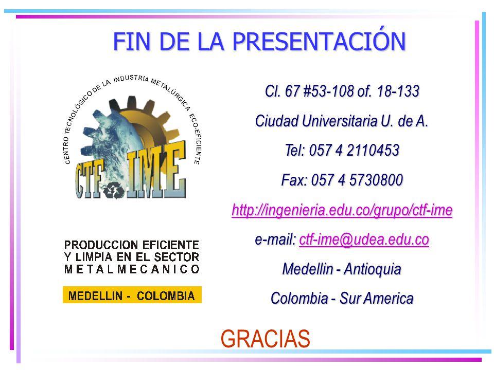 FIN DE LA PRESENTACIÓN GRACIAS Cl. 67 #53-108 of. 18-133