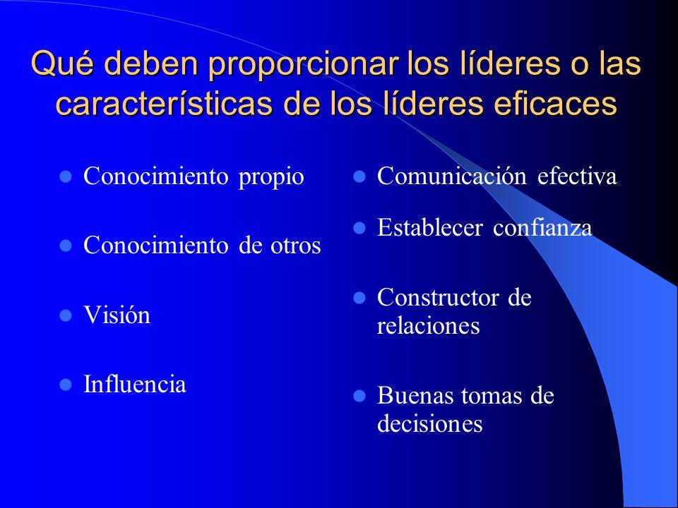 Qué deben proporcionar los líderes o las características de los líderes eficaces