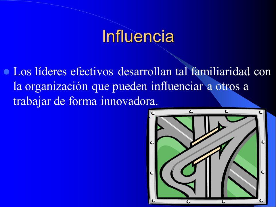 InfluenciaLos líderes efectivos desarrollan tal familiaridad con la organización que pueden influenciar a otros a trabajar de forma innovadora.