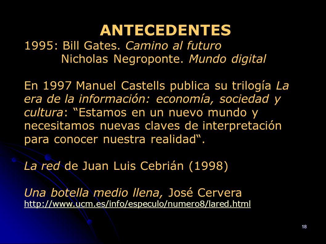 ANTECEDENTES 1995: Bill Gates. Camino al futuro