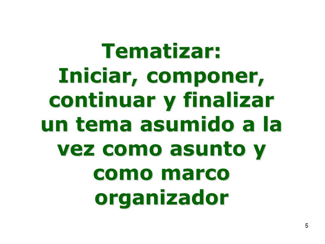 Tematizar: Iniciar, componer, continuar y finalizar un tema asumido a la vez como asunto y como marco organizador.