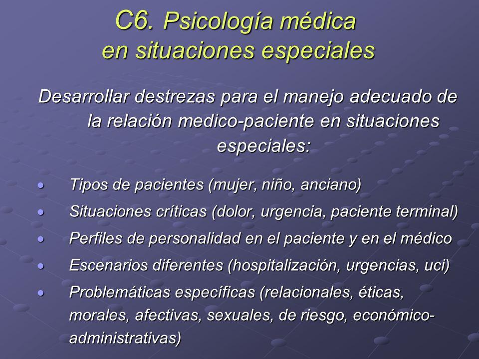 C6. Psicología médica en situaciones especiales