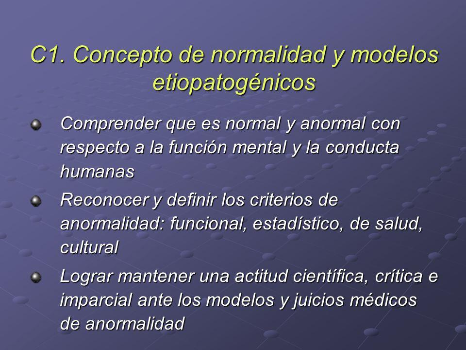 C1. Concepto de normalidad y modelos etiopatogénicos