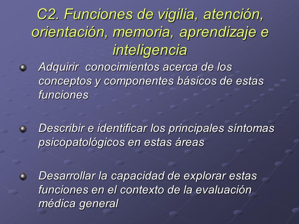 C2. Funciones de vigilia, atención, orientación, memoria, aprendizaje e inteligencia