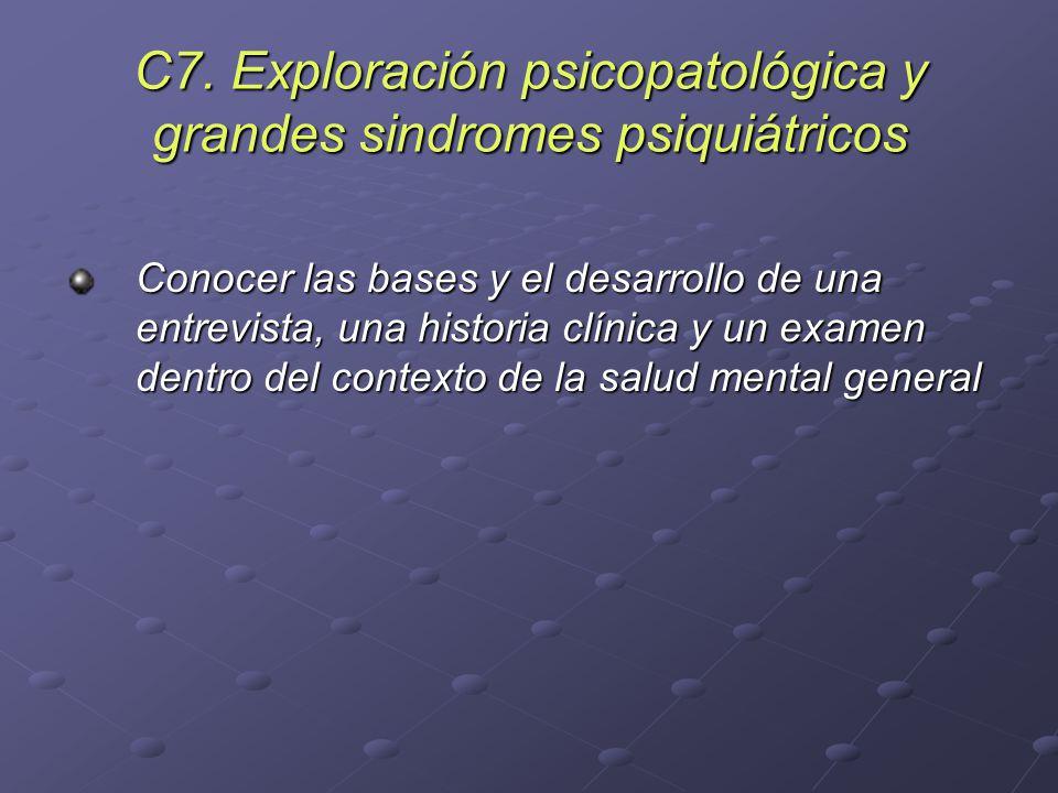 C7. Exploración psicopatológica y grandes sindromes psiquiátricos