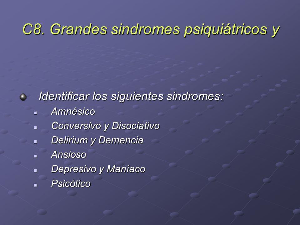 C8. Grandes sindromes psiquiátricos y