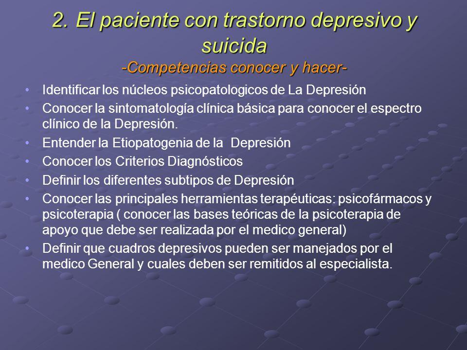 2. El paciente con trastorno depresivo y suicida -Competencias conocer y hacer-