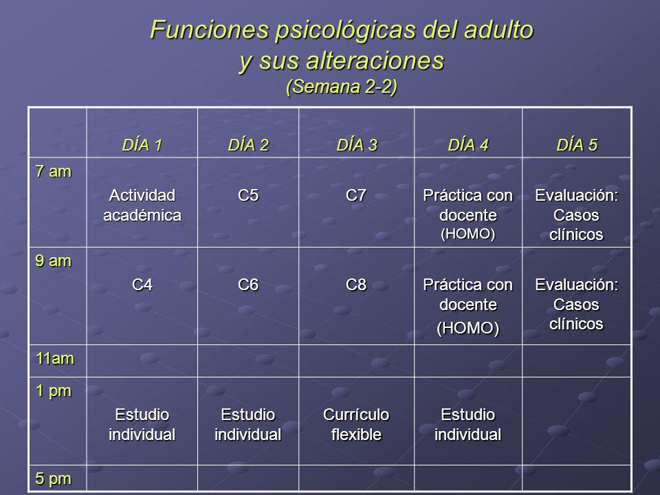 Funciones psicológicas del adulto y sus alteraciones (Semana 2-2)
