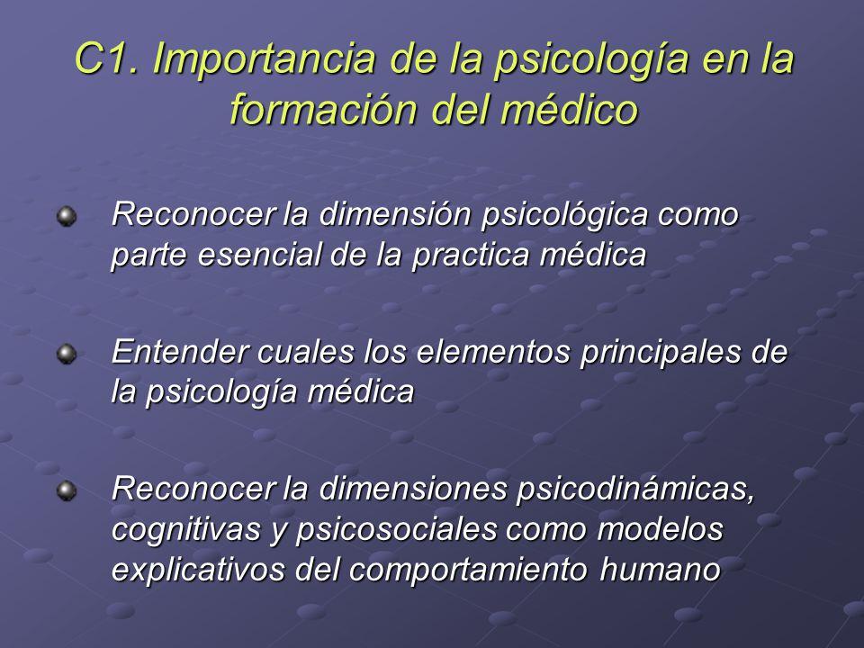 C1. Importancia de la psicología en la formación del médico