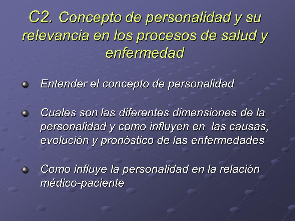 C2. Concepto de personalidad y su relevancia en los procesos de salud y enfermedad