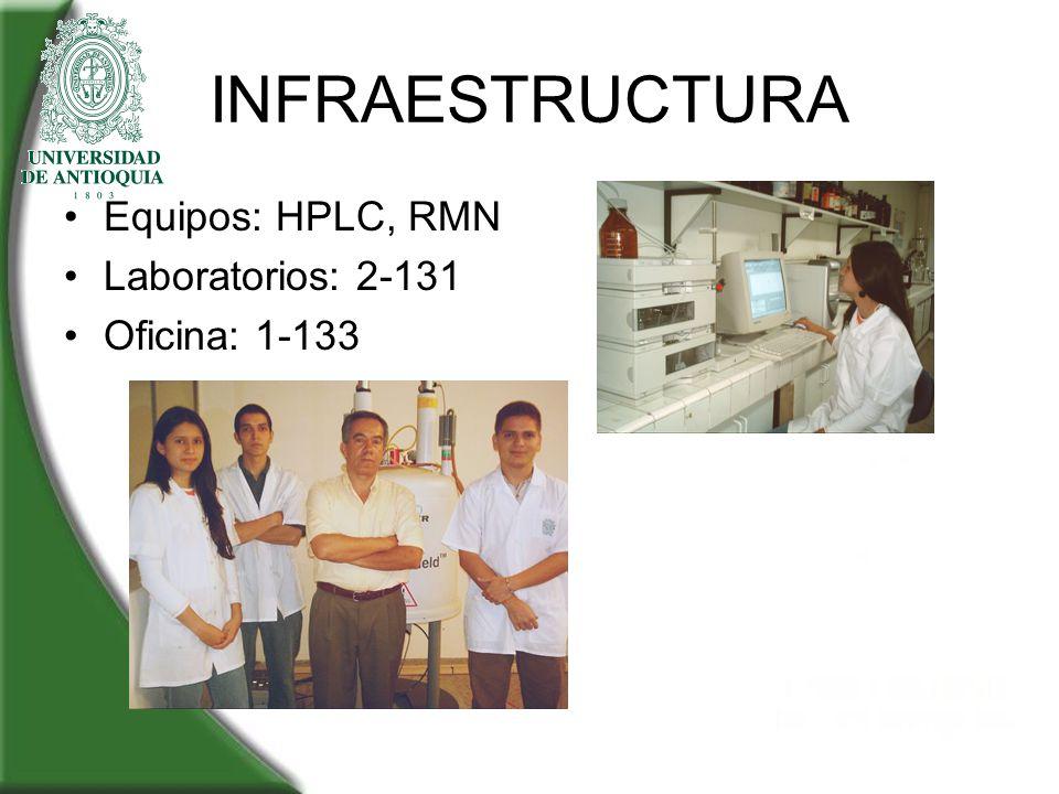 INFRAESTRUCTURA Equipos: HPLC, RMN Laboratorios: 2-131 Oficina: 1-133