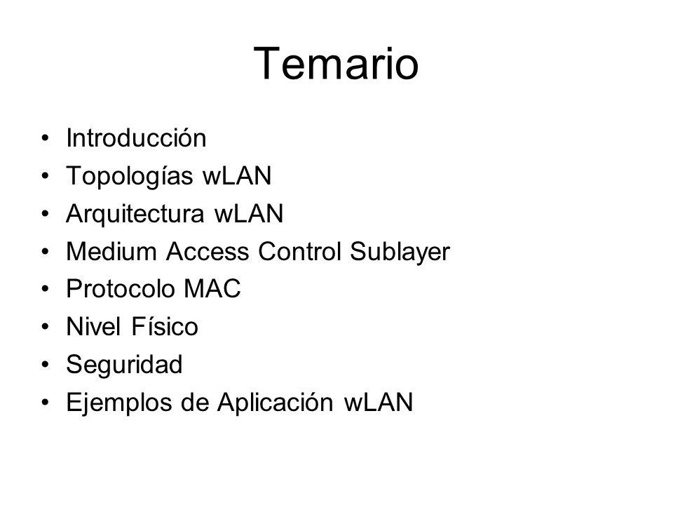 Temario Introducción Topologías wLAN Arquitectura wLAN