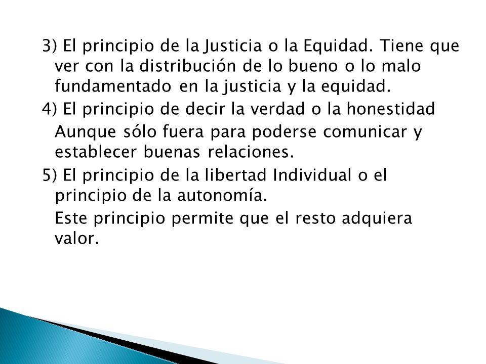 3) El principio de la Justicia o la Equidad