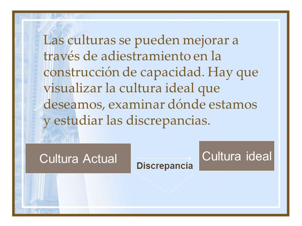 Las culturas se pueden mejorar a través de adiestramiento en la construcción de capacidad. Hay que visualizar la cultura ideal que deseamos, examinar dónde estamos y estudiar las discrepancias.