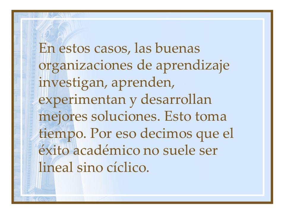En estos casos, las buenas organizaciones de aprendizaje investigan, aprenden, experimentan y desarrollan mejores soluciones.