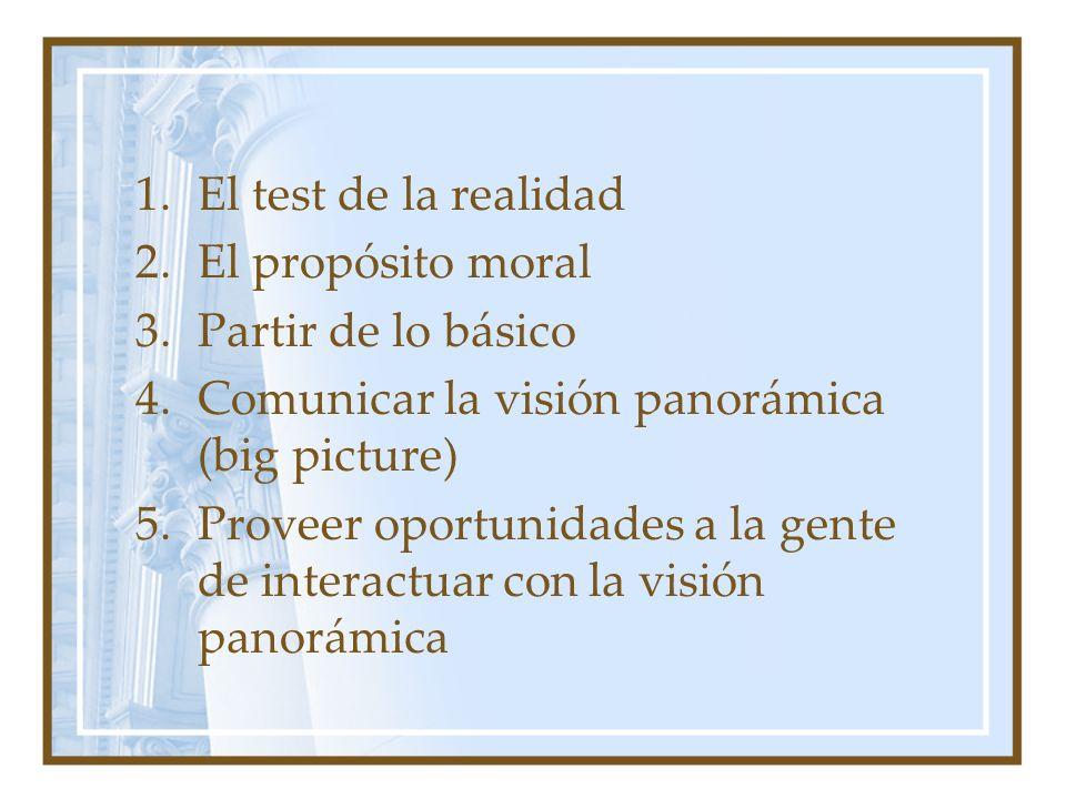 El test de la realidad El propósito moral. Partir de lo básico. Comunicar la visión panorámica (big picture)