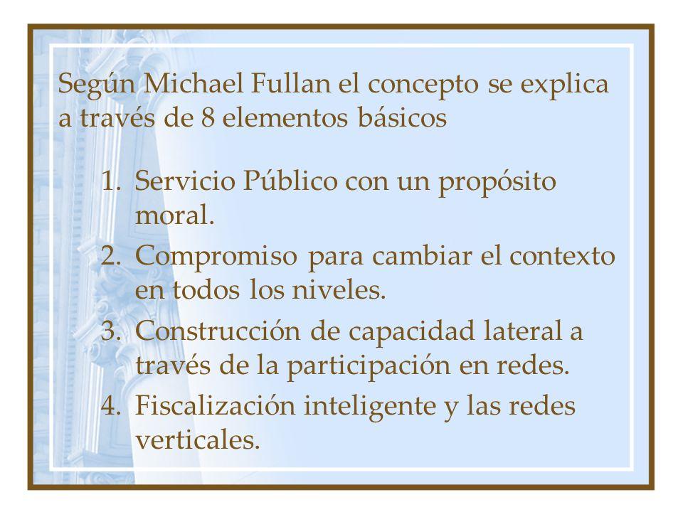 Según Michael Fullan el concepto se explica a través de 8 elementos básicos