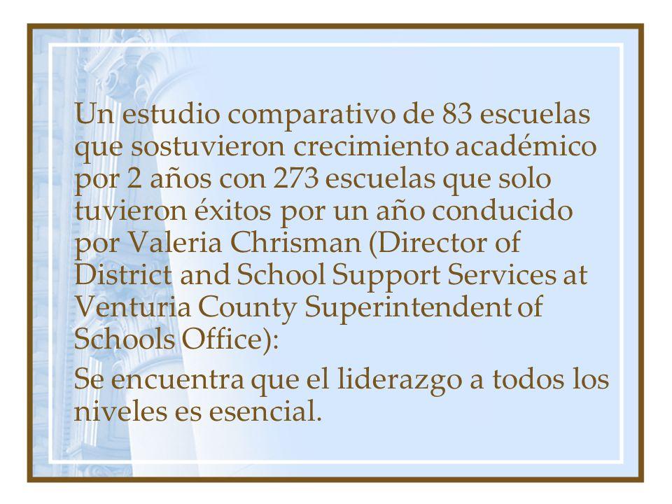 Un estudio comparativo de 83 escuelas que sostuvieron crecimiento académico por 2 años con 273 escuelas que solo tuvieron éxitos por un año conducido por Valeria Chrisman (Director of District and School Support Services at Venturia County Superintendent of Schools Office):