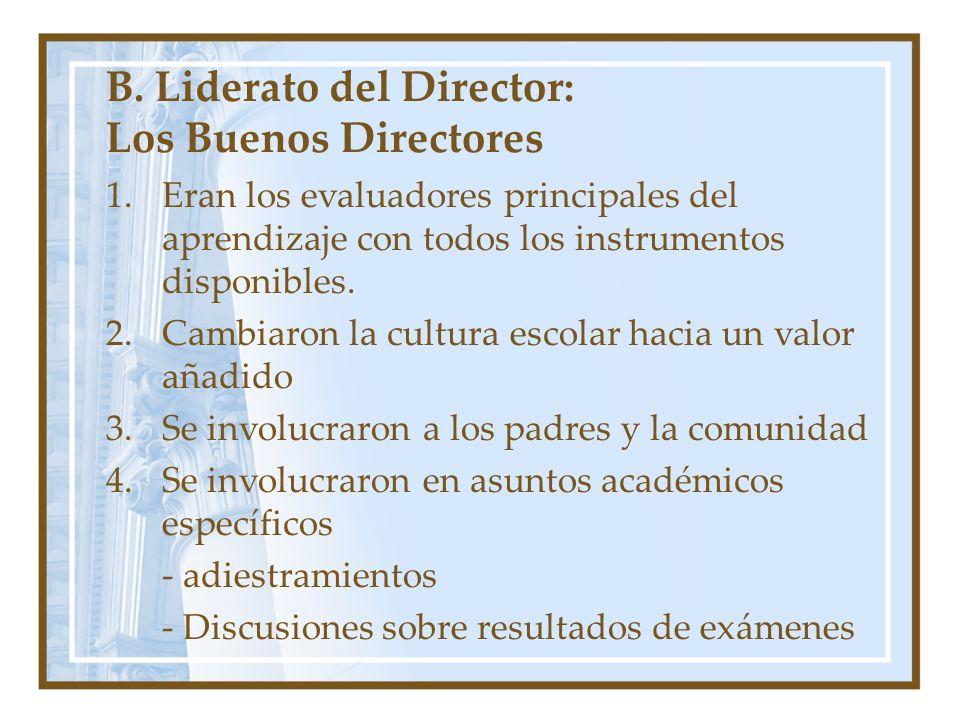 B. Liderato del Director: Los Buenos Directores
