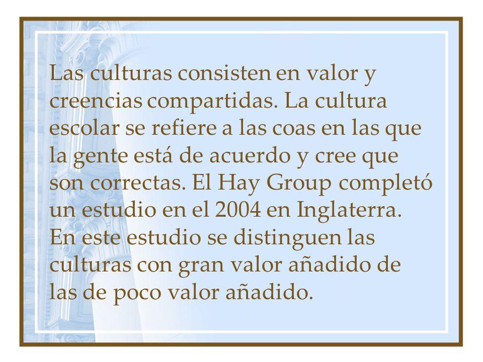 Las culturas consisten en valor y creencias compartidas