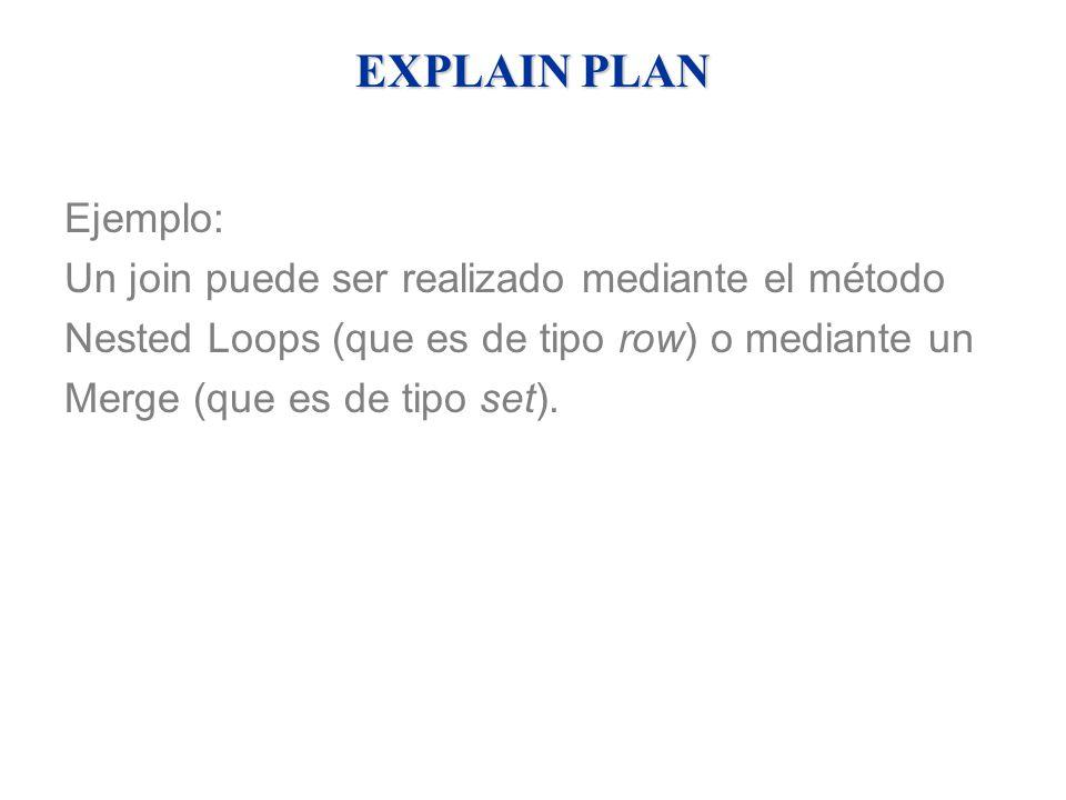 EXPLAIN PLAN Ejemplo: Un join puede ser realizado mediante el método