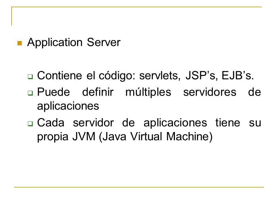Application Server Contiene el código: servlets, JSP's, EJB's. Puede definir múltiples servidores de aplicaciones.