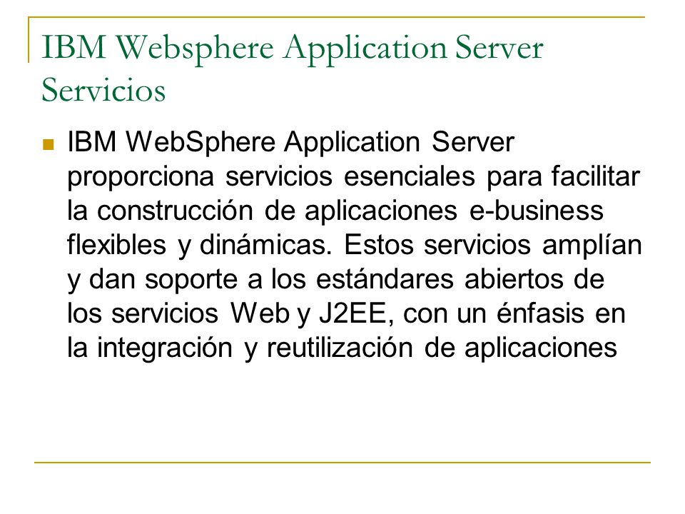 IBM Websphere Application Server Servicios