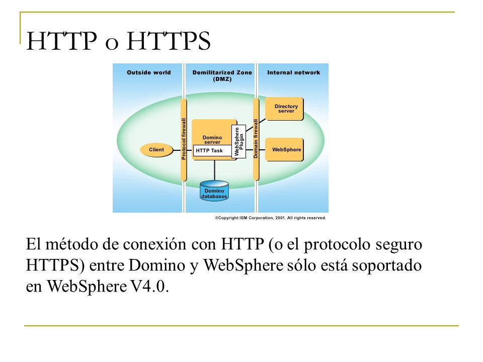 HTTP o HTTPS El método de conexión con HTTP (o el protocolo seguro HTTPS) entre Domino y WebSphere sólo está soportado en WebSphere V4.0.
