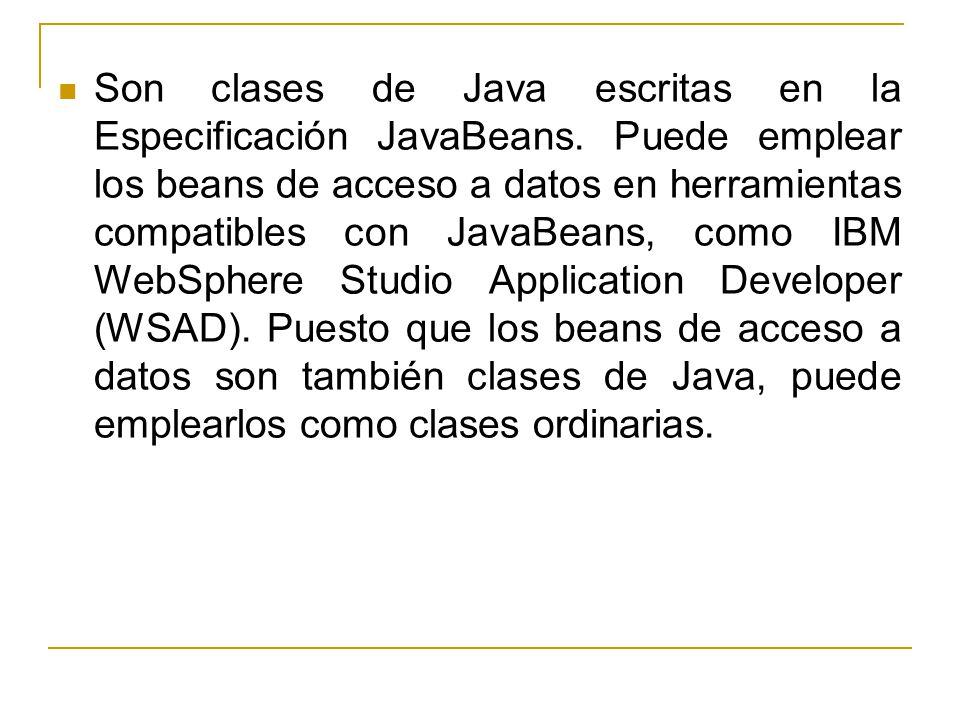 Son clases de Java escritas en la Especificación JavaBeans
