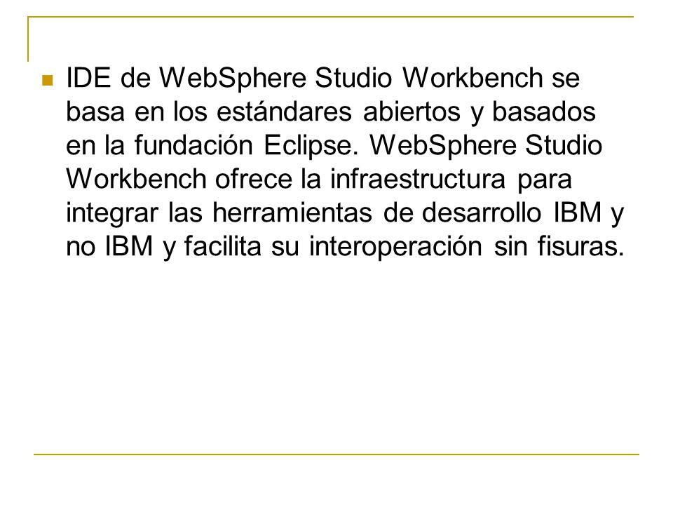 IDE de WebSphere Studio Workbench se basa en los estándares abiertos y basados en la fundación Eclipse.