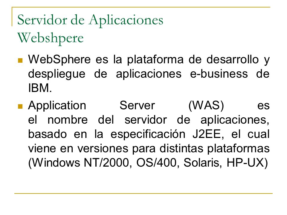 Servidor de Aplicaciones Webshpere