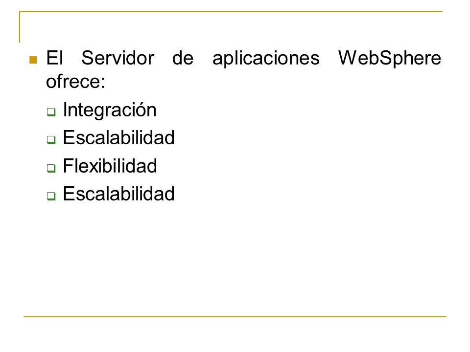 El Servidor de aplicaciones WebSphere ofrece: