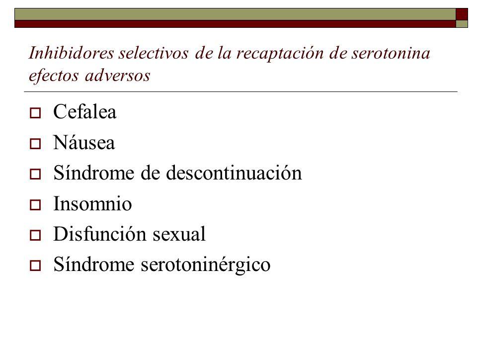 Síndrome de descontinuación Insomnio Disfunción sexual