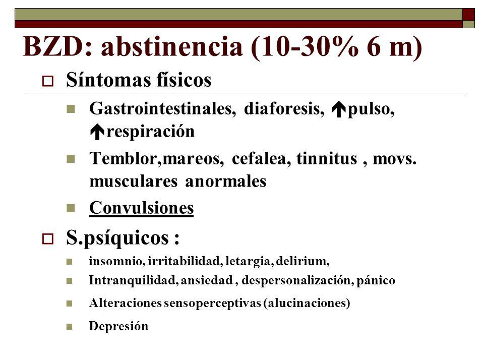 BZD: abstinencia (10-30% 6 m)