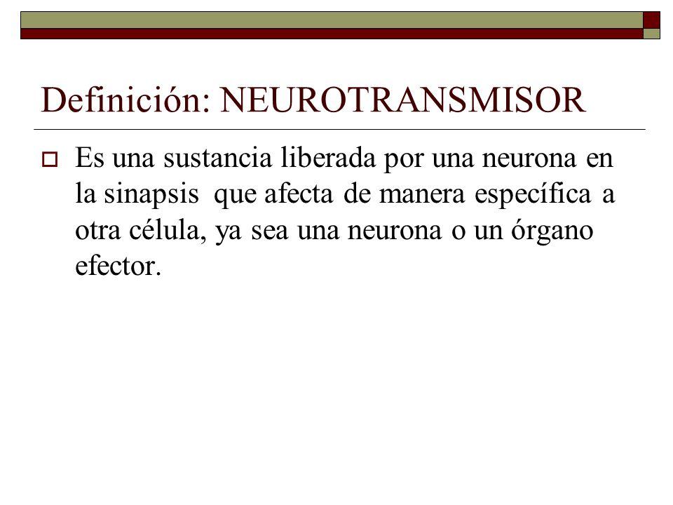 Definición: NEUROTRANSMISOR