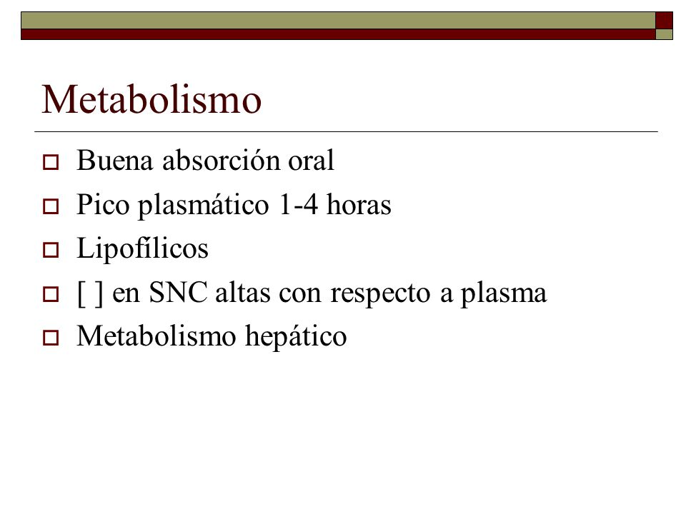 Metabolismo Buena absorción oral Pico plasmático 1-4 horas Lipofílicos