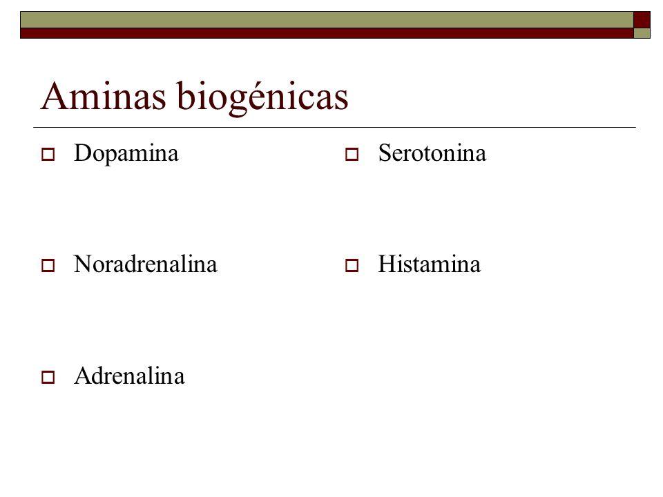 Aminas biogénicas Dopamina Noradrenalina Adrenalina Serotonina