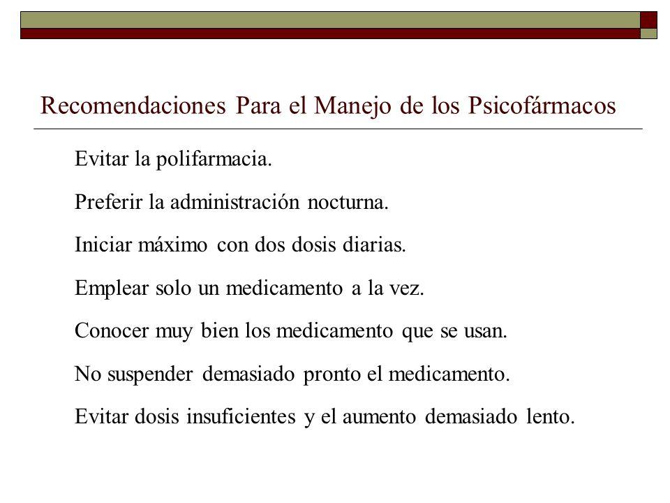 Recomendaciones Para el Manejo de los Psicofármacos