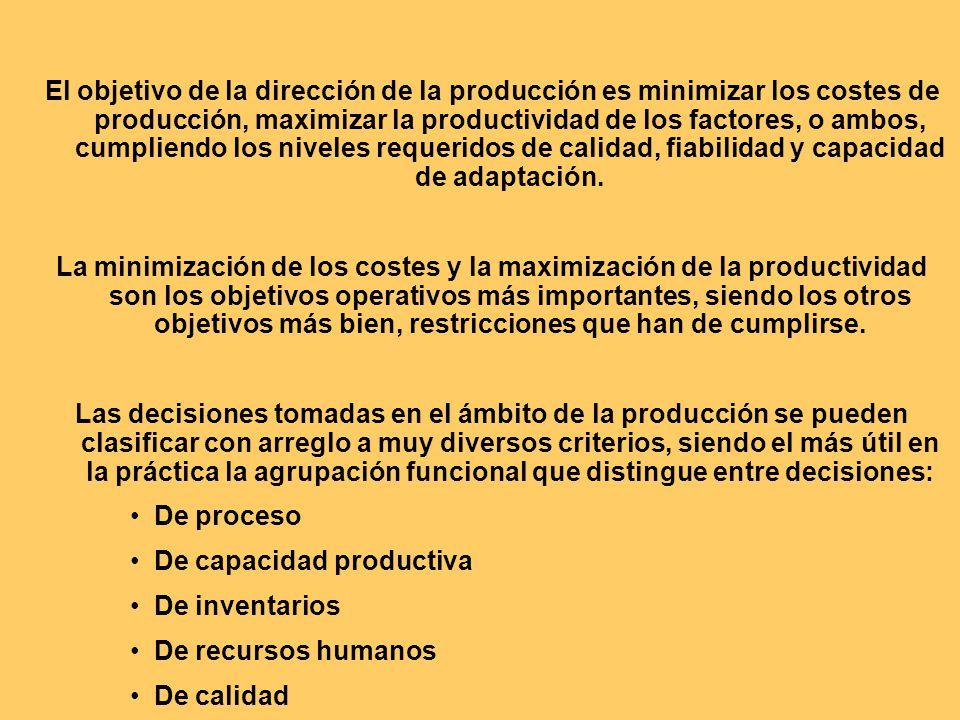 El objetivo de la dirección de la producción es minimizar los costes de producción, maximizar la productividad de los factores, o ambos, cumpliendo los niveles requeridos de calidad, fiabilidad y capacidad de adaptación.