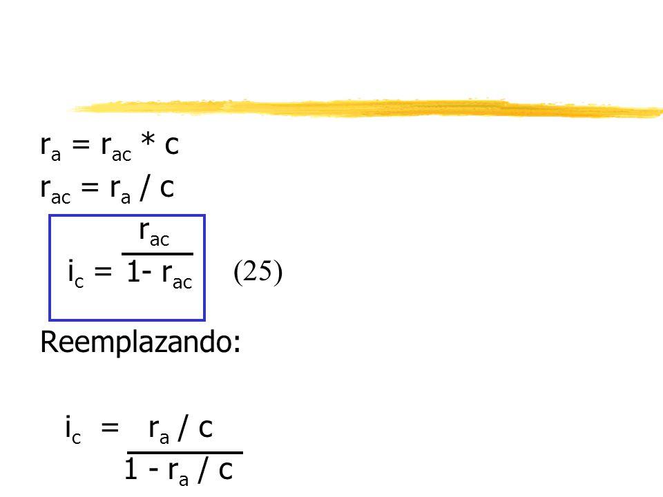 ra = rac * c rac = ra / c rac 1- rac Reemplazando: ic = ra / c 1 - ra / c ic = (25)