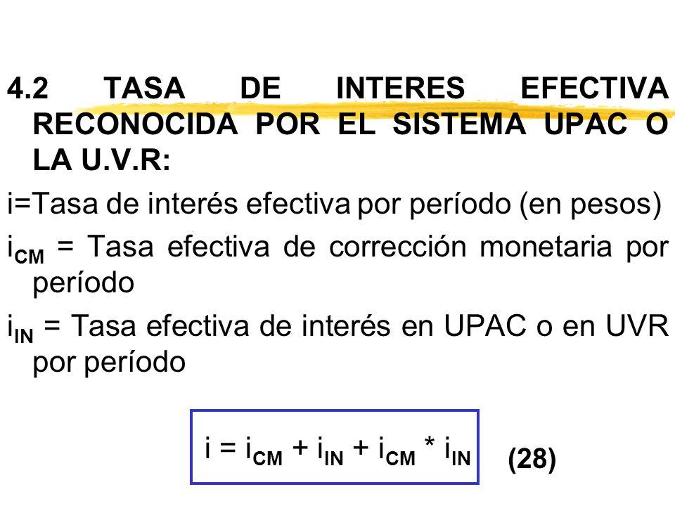 4. 2 TASA DE INTERES EFECTIVA RECONOCIDA POR EL SISTEMA UPAC O LA U. V