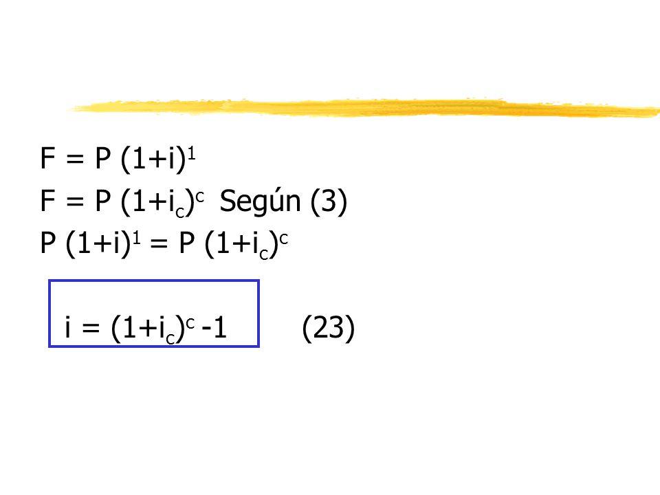 F = P (1+i)1 F = P (1+ic)c Según (3) P (1+i)1 = P (1+ic)c i = (1+ic)c -1 (23)