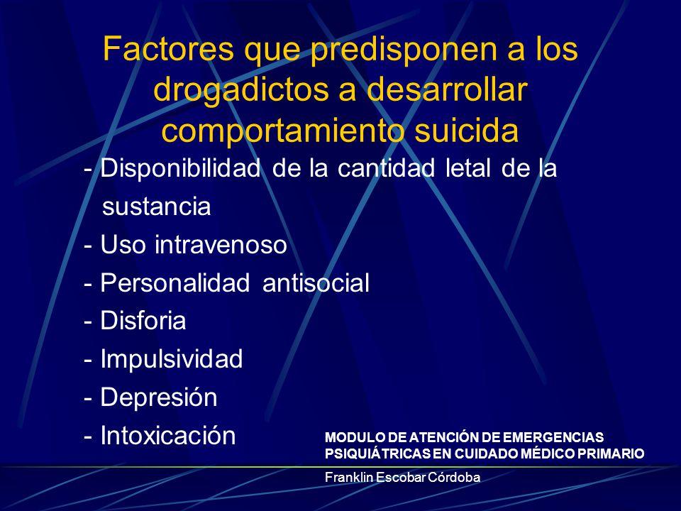 Factores que predisponen a los drogadictos a desarrollar comportamiento suicida