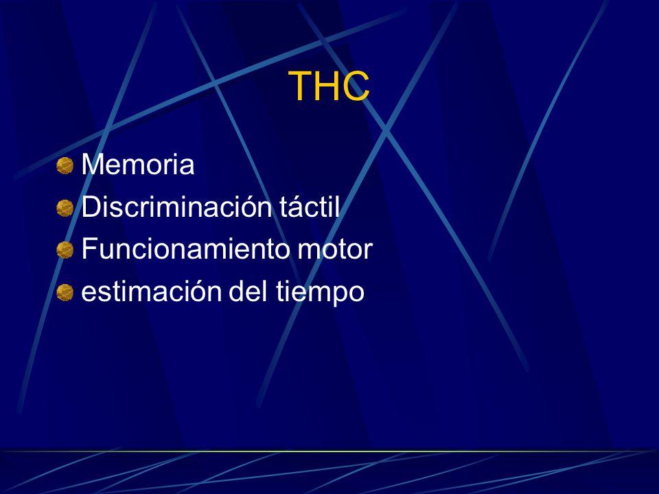 THC Memoria Discriminación táctil Funcionamiento motor