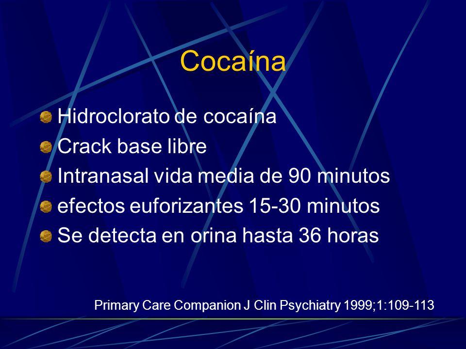 Cocaína Hidroclorato de cocaína Crack base libre