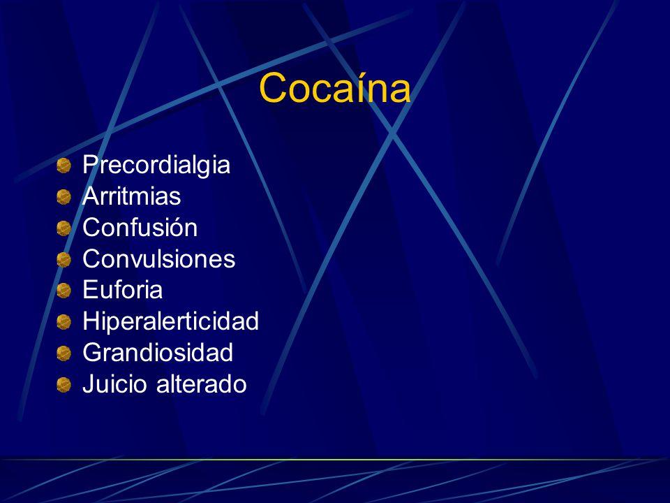 Cocaína Precordialgia Arritmias Confusión Convulsiones Euforia