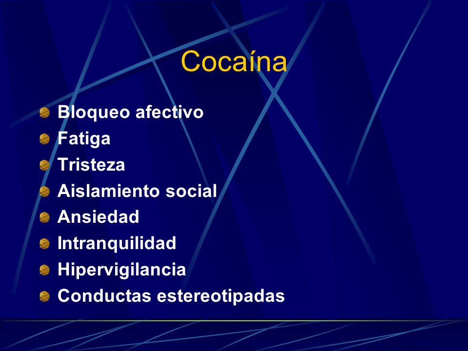 Cocaína Bloqueo afectivo Fatiga Tristeza Aislamiento social Ansiedad