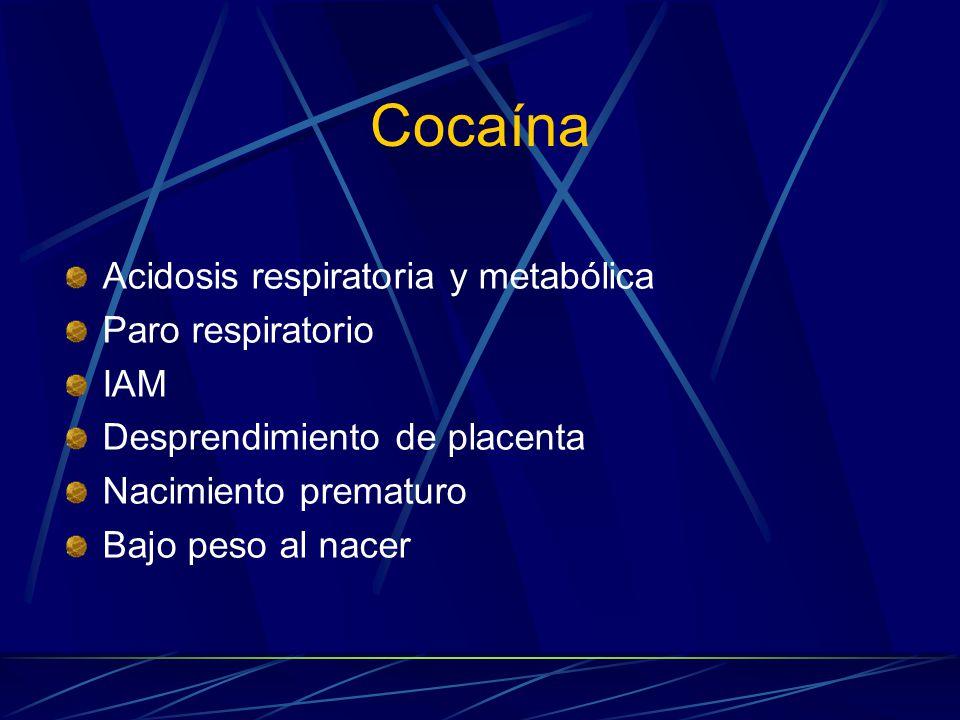 Cocaína Acidosis respiratoria y metabólica Paro respiratorio IAM